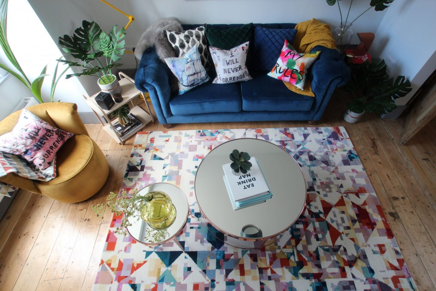 Style a living room, Styling Challenge, Living Room, interiors blog, the House that Bloggers Built, hellopeagreen, decor, blogger challenge, Floor Story Rug, Silk Rug, geometric pattern
