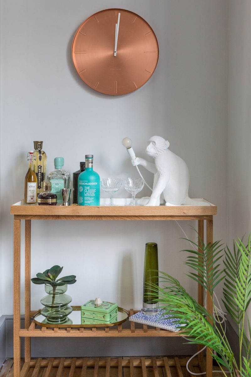 Styling Challenge, Living Room, interiors blog, the House that Bloggers Built, hellopeagreen, decor, blogger challenge, Bar Cart Styling, Rocket St George, Copper clock