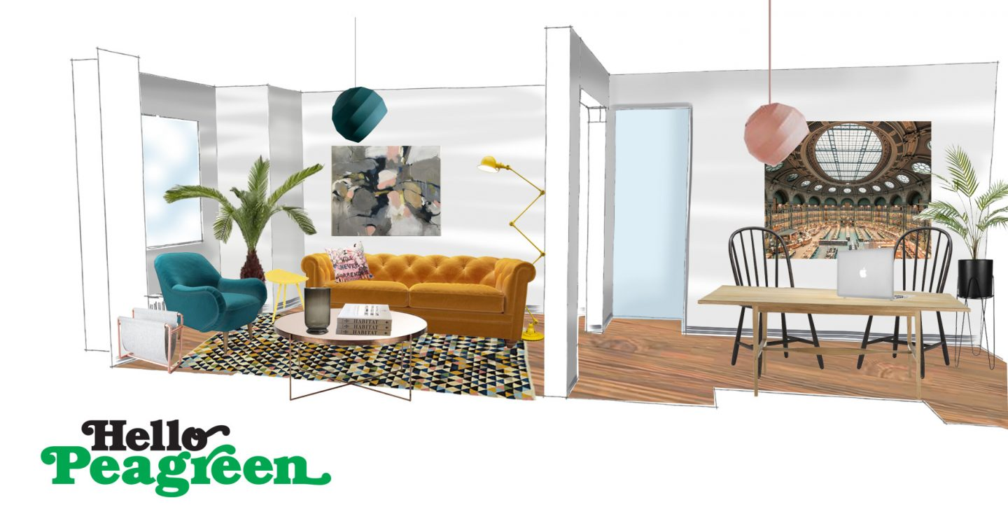 Style a living room, Styling Challenge, Living Room, interiors blog, the House that Bloggers Built, hellopeagreen, decor, blogger challenge, design board, yellow sofa, abigail bowen