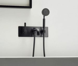 Industrial style Black bath taps, Black bath taps, bathroom trend, black faucet, industrial style, bathroom design, hello peagreen, interior blogger, Landmark collection, Samuel Heath