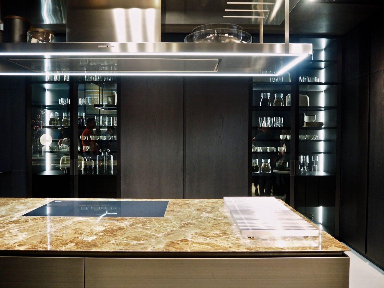 Choosing the right stone, Poliform, Kitchen design, dark brown marble
