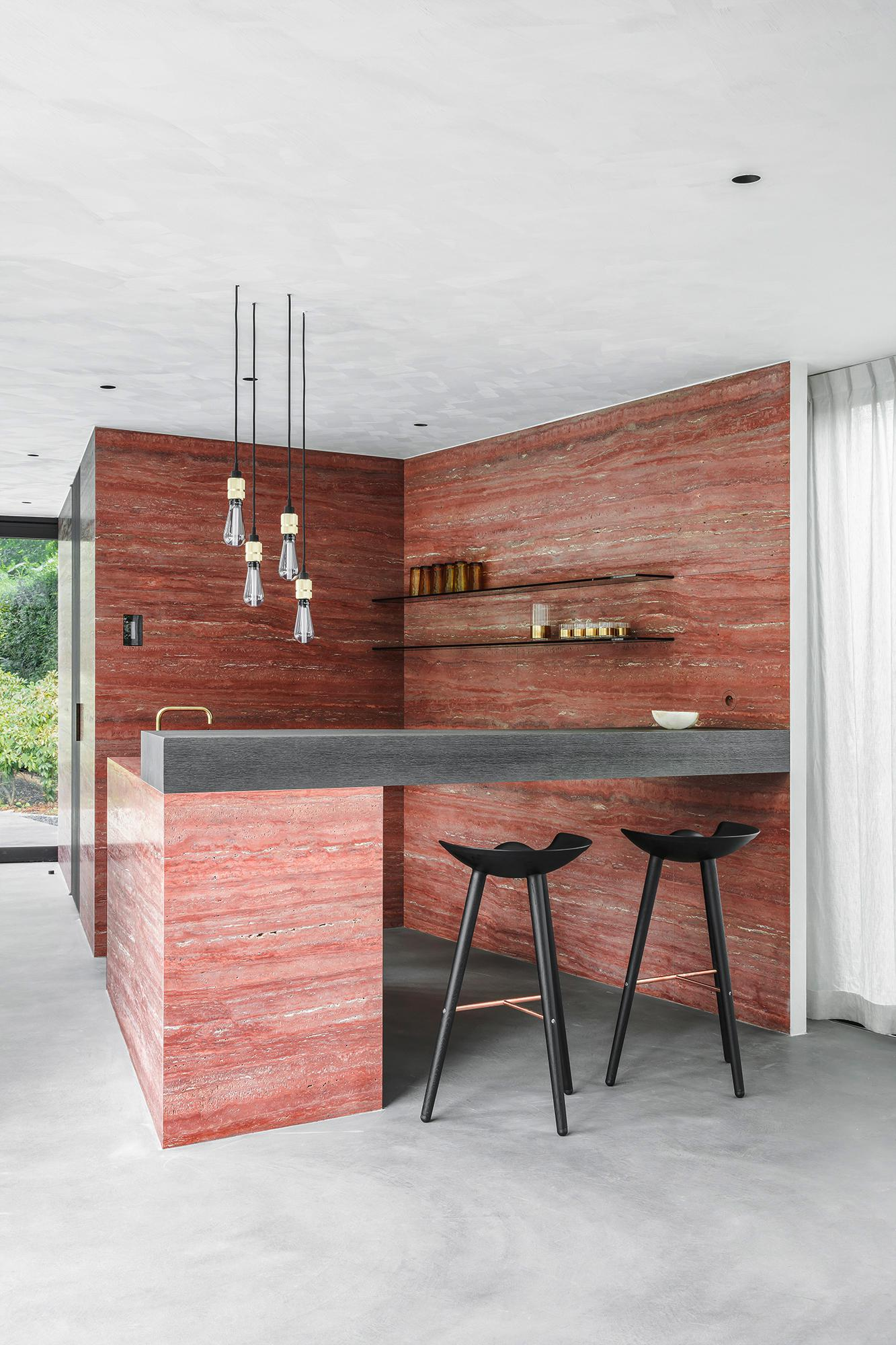Choosing the right stone, Arjaan De Feyter designed, Kitchen, Rosso Travertine