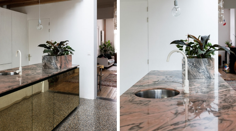 Choosing the right stone, Dries Otten design, kitchen, pink marble