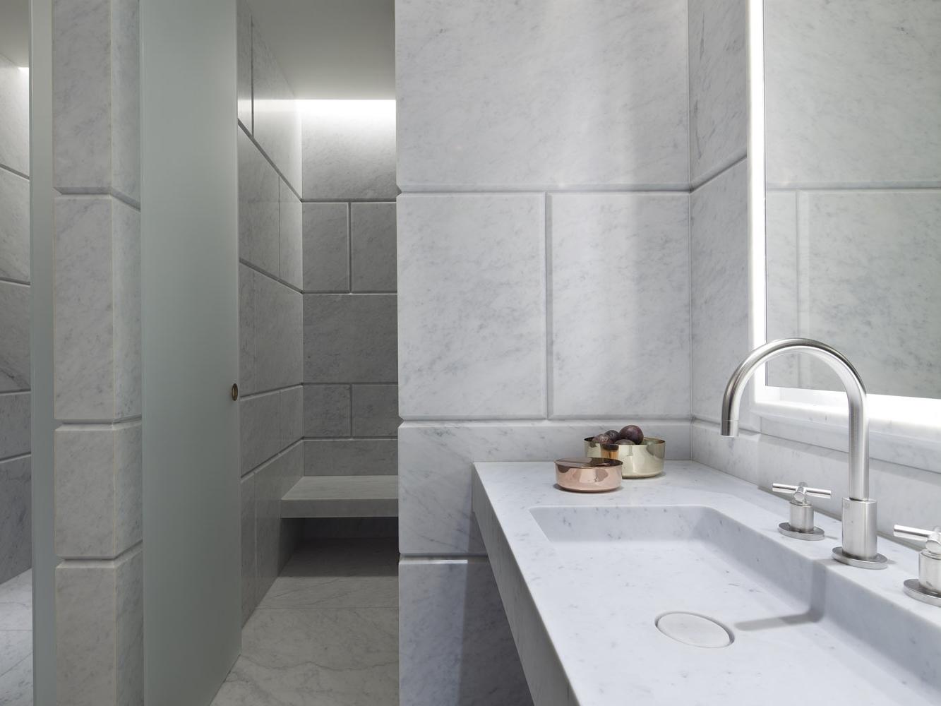 Choosing the right stone, Hotel Cafe Royal London, Carrara Marble
