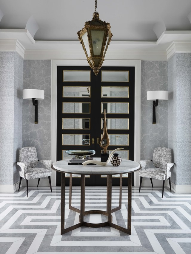 Choosing the right stone, grey and white marble pattern, Jean Louis Deniot designed