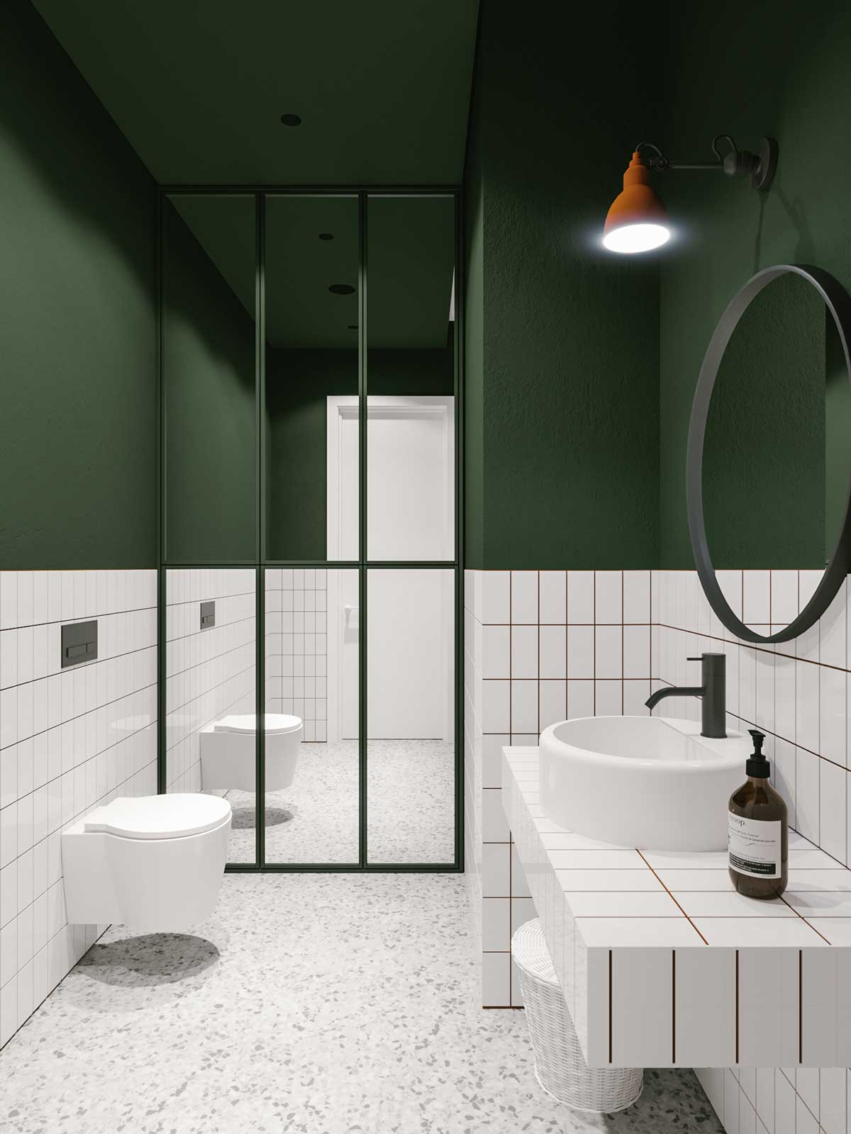 Gorgeous green bathrooms, Odessalon by Architects Evgeniy Bulatnikov and Emil Dervish
