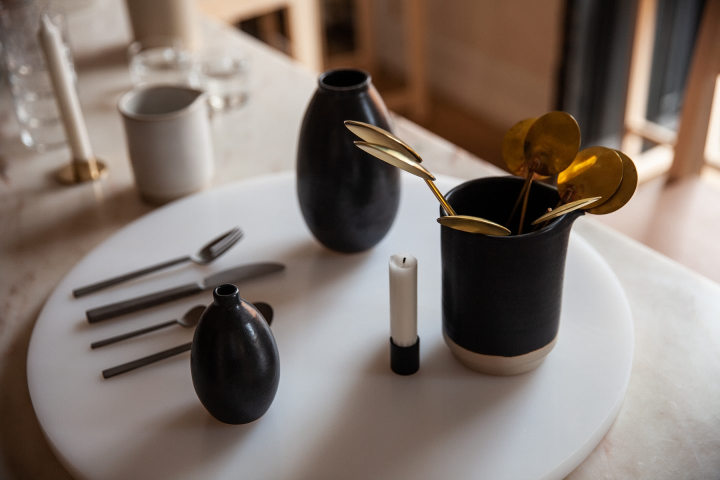 Copenhagen's 3 days of design event, Frama Showroom, gold spoons, Hello Peagreen