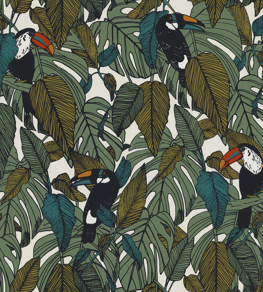 Green Wallpaper, the greenery edit, leafy wallpaper, jungle wallpaper, foliage wallpaper, Toucan by Casamance
