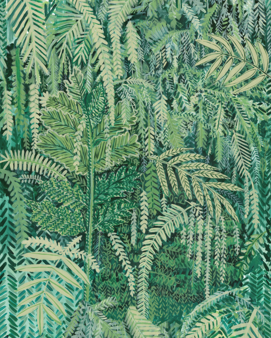 Green Wallpaper, the greenery edit, leafy wallpaper, jungle wallpaper, foliage wallpaper, Lucy Tiffney