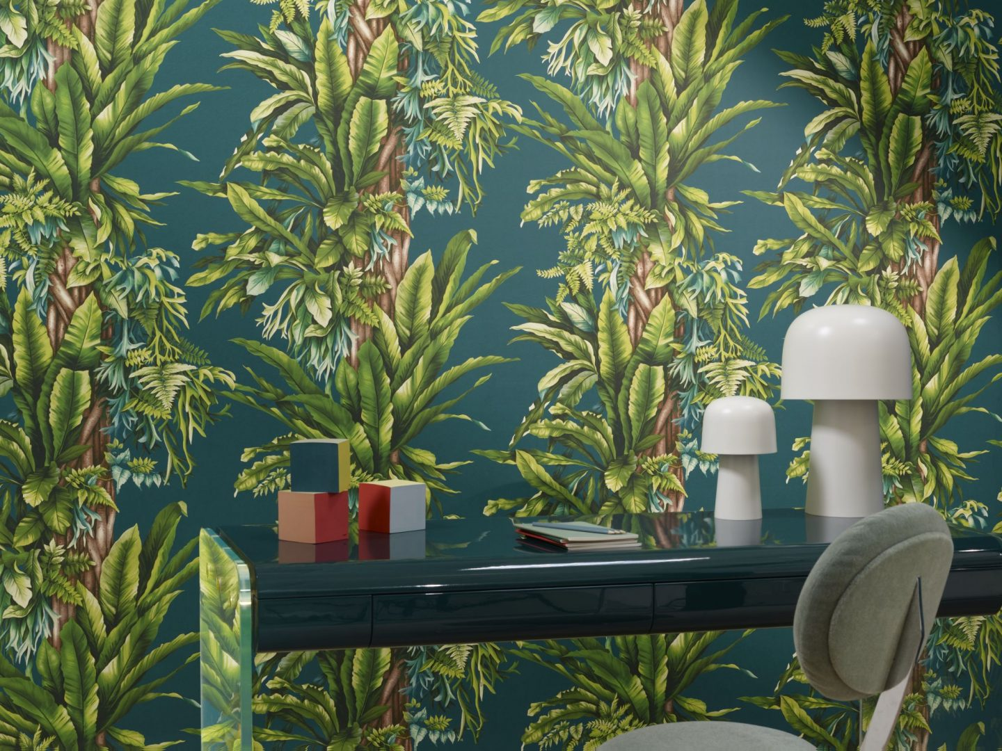 Green Wallpaper, the greenery edit, leafy wallpaper, jungle wallpaper, foliage wallpaper, Pierre Frey, Pachira Wallpaper