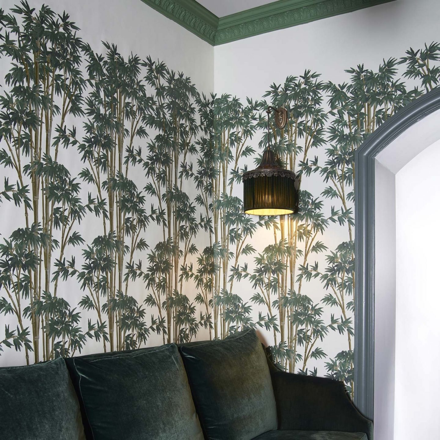 Green Wallpaper, the greenery edit, leafy wallpaper, jungle wallpaper, foliage wallpaper, Bambusa wallpaper, House of Hackney