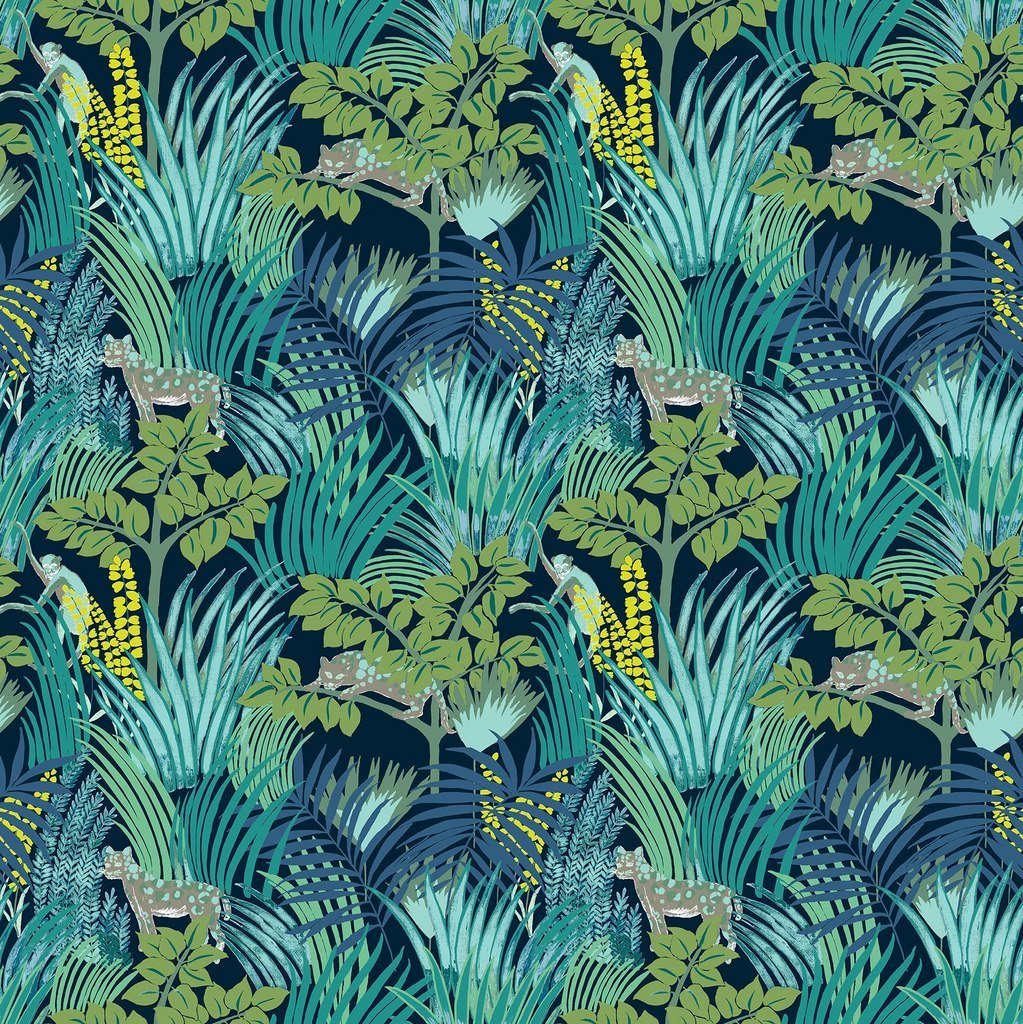 Green Wallpaper, the greenery edit, leafy wallpaper, jungle wallpaper, foliage wallpaper, Kipling Wallpaper, Pierre Frey