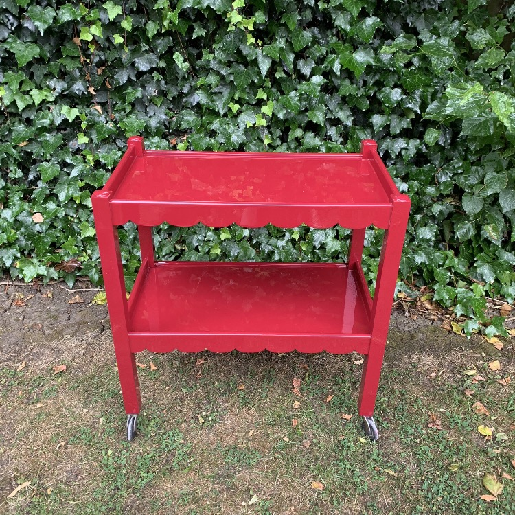 red lacquered trolley, traditional decor, country house style