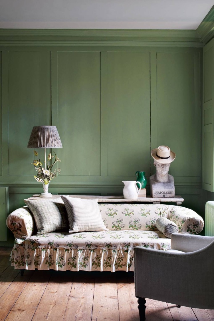 traditional decor, country house style, sofa with frill, farrow and ball paint